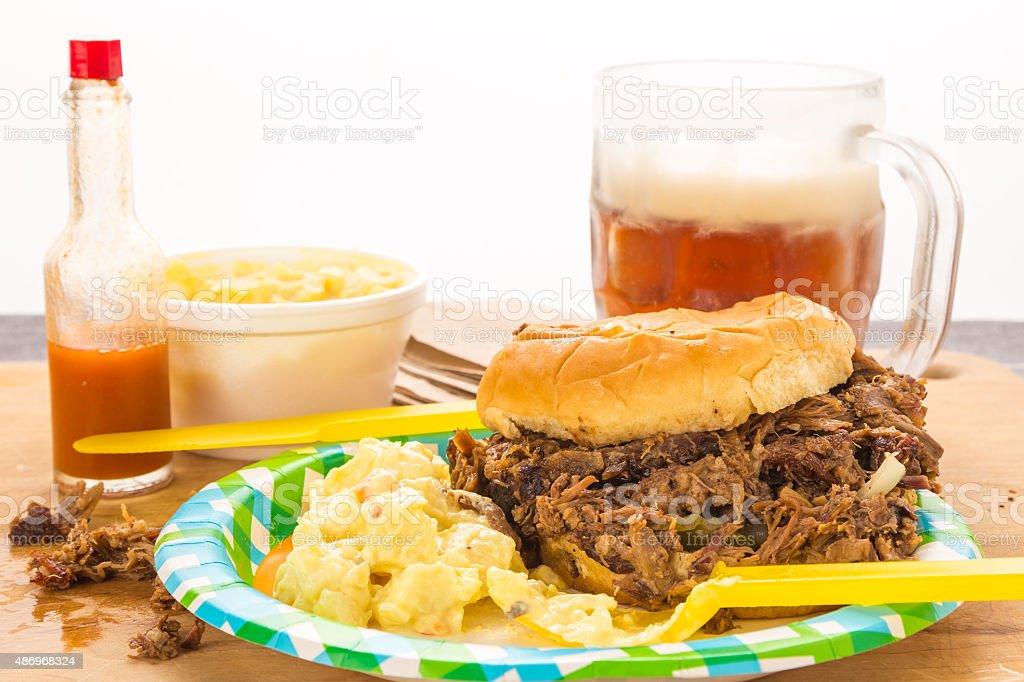 Chopped BBQ Beef Brisket Sandwich stock photo