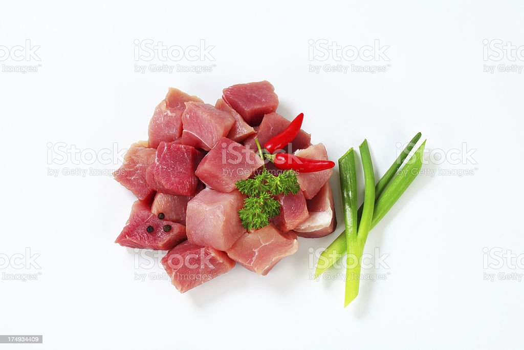 Chopped beef meat for goulash royalty-free stock photo