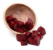 chopped beet dices fall down