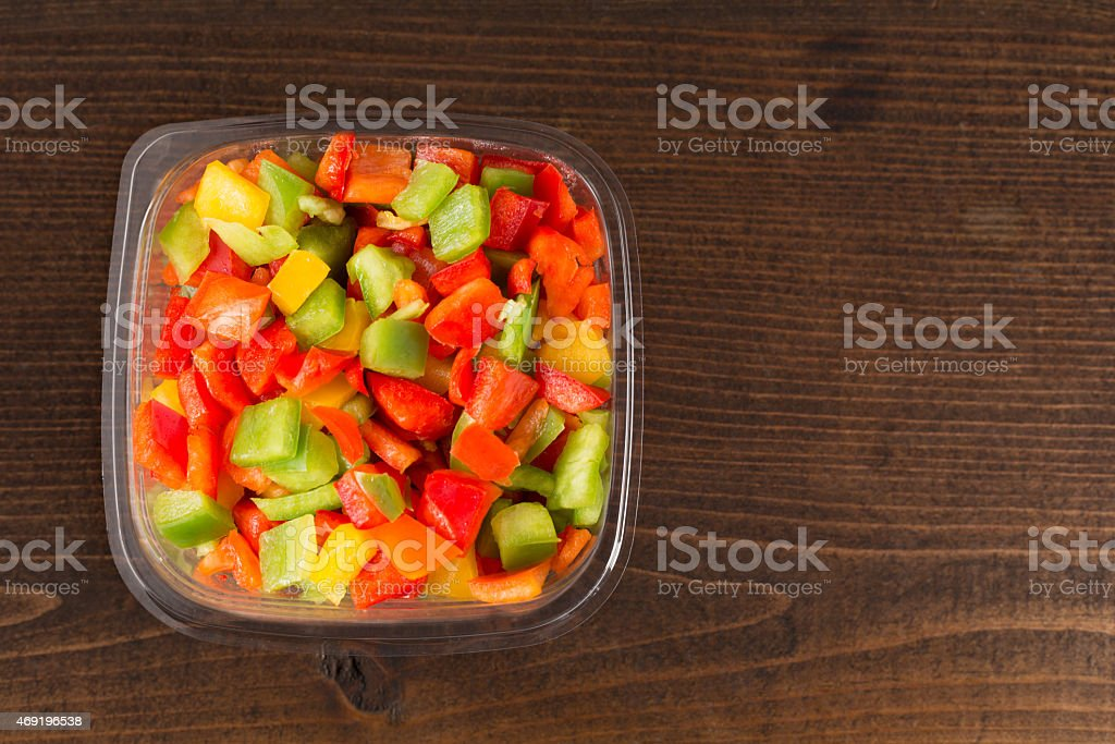Chopped Bell Peppers In A Container stock photo