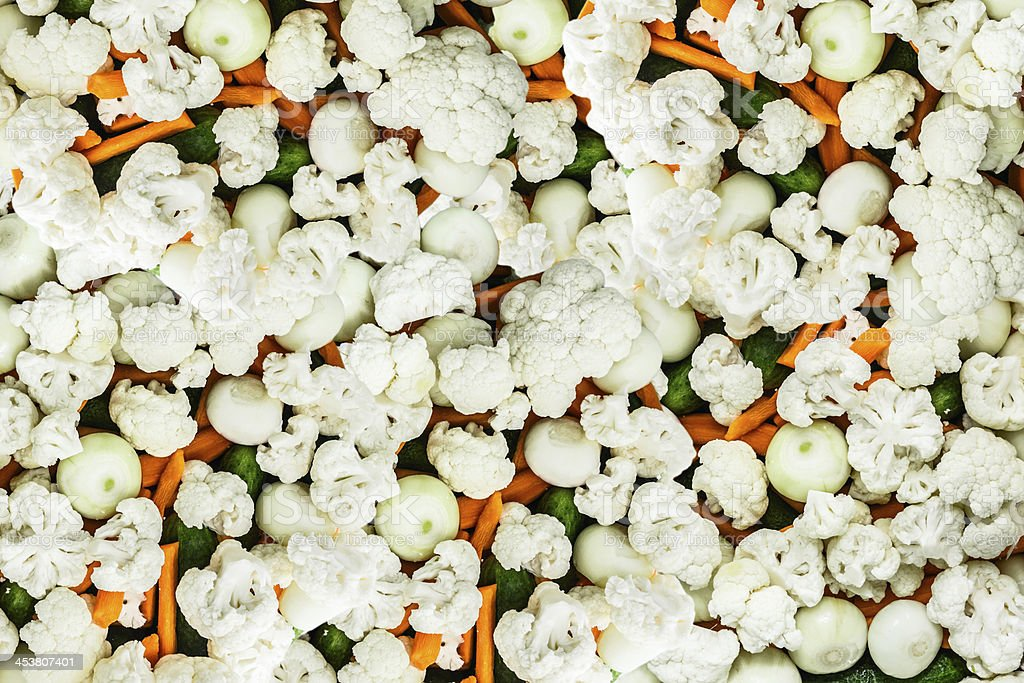 Chopped Cauliflower on vegetables royalty-free stock photo