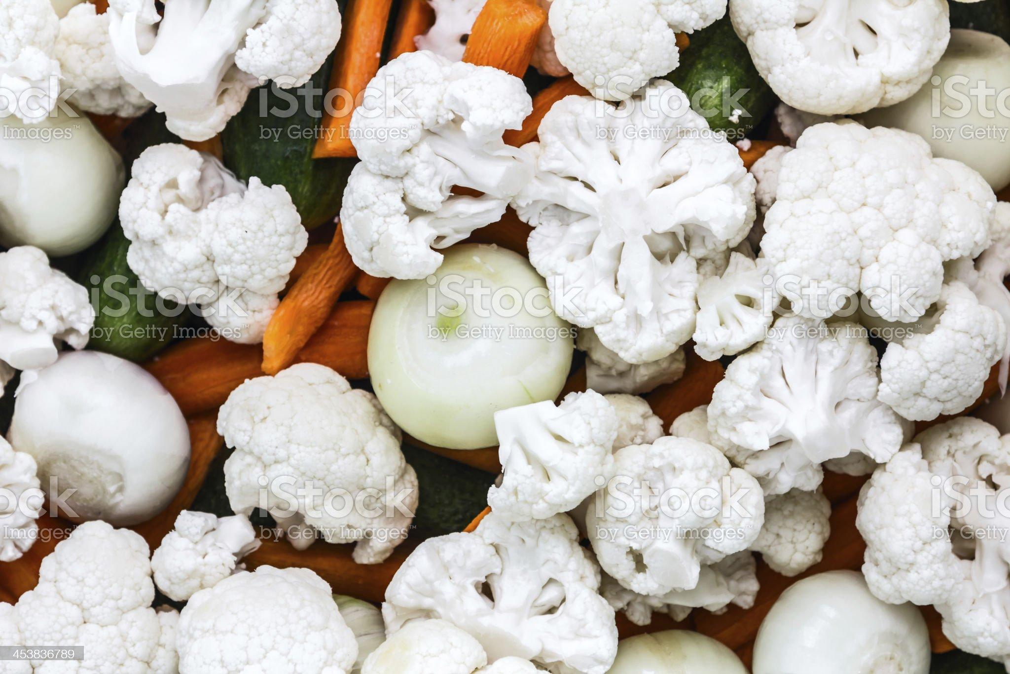 Chopped Cauliflower on vegetables royalty-free stock photo