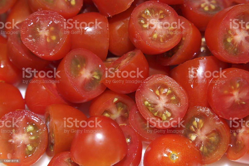 Chopped Cherry Tomatoes Up-Close stock photo