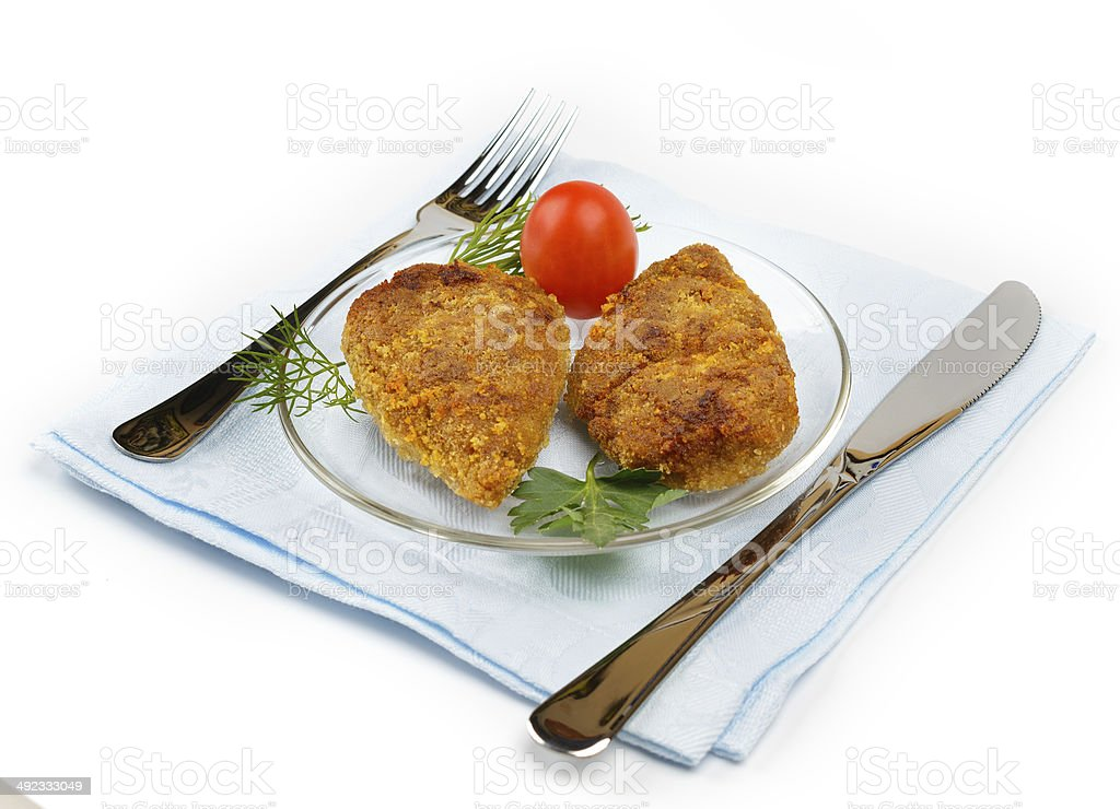 Chopped chicken cutlets. stock photo
