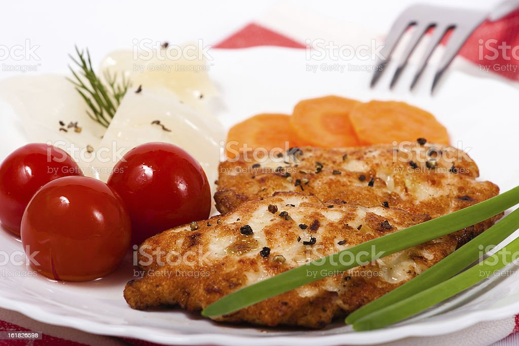 Chopped chicken meat cutlet with salty tomatoes royalty-free stock photo