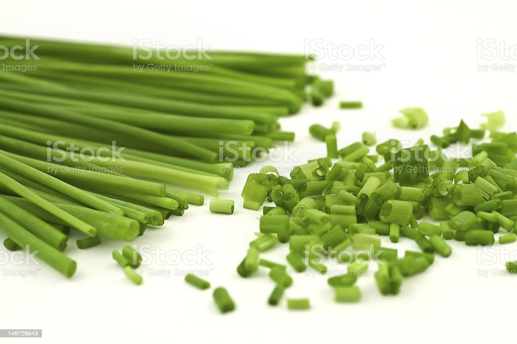 chopped chive on white background royalty-free stock photo
