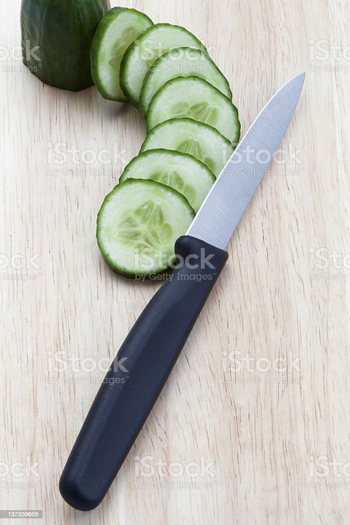 Chopped Cucumber and Knife royalty-free stock photo