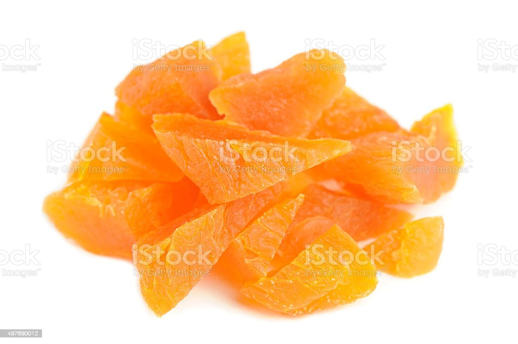 Chopped Dried Apricots Isolated on White Background stock photo