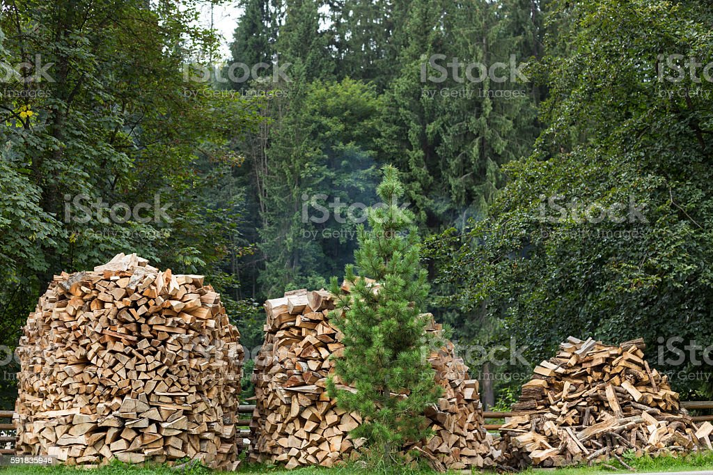 Chopped firewood for home heating in the Carpathians. stock photo
