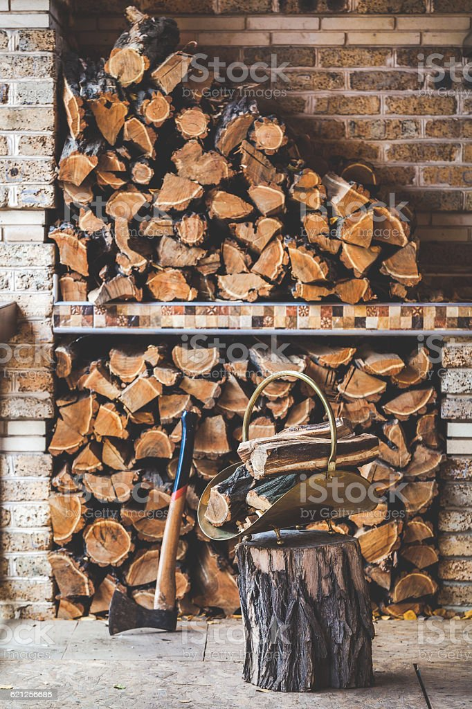Chopped Firewood Stacked On Porch Next Ax Stump Stack Wood stock