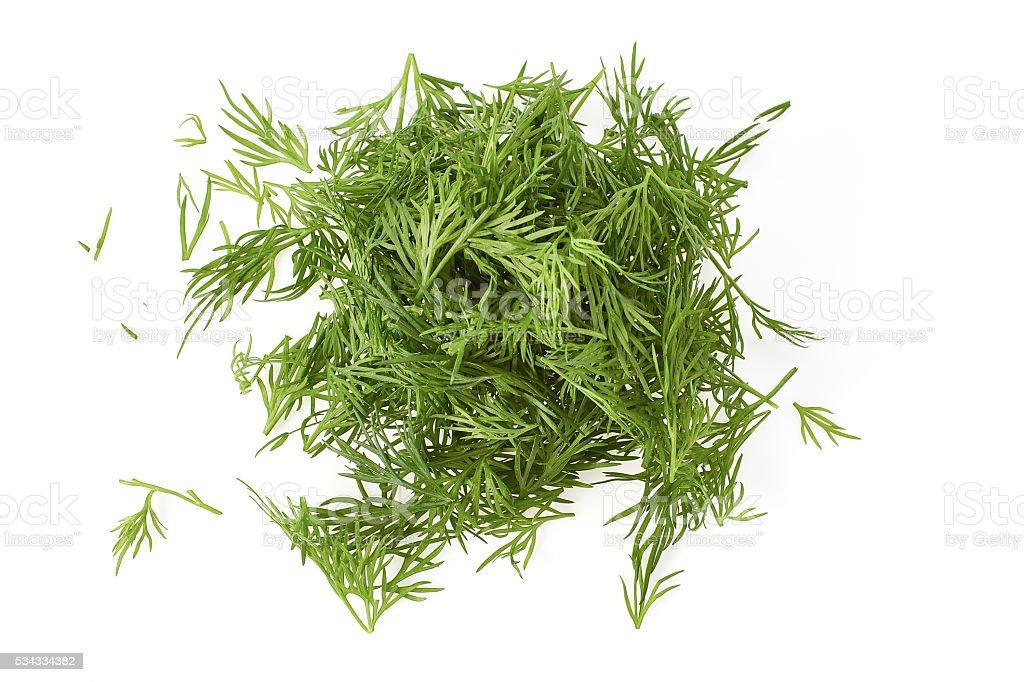 Chopped fresh dill on white stock photo