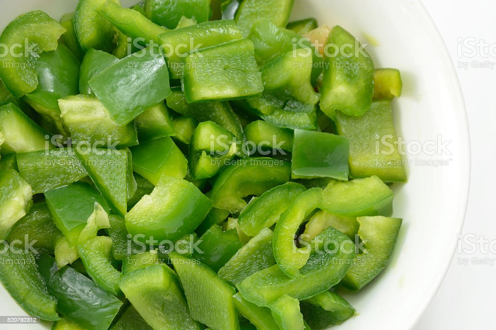 Chopped green bell peppers stock photo