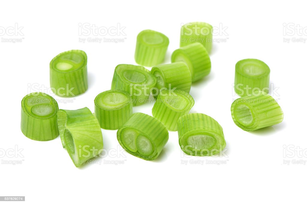 chopped green onion stock photo