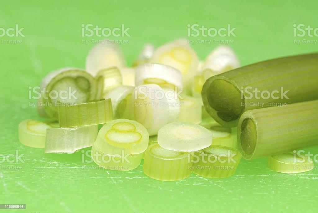 Chopped green onions stock photo