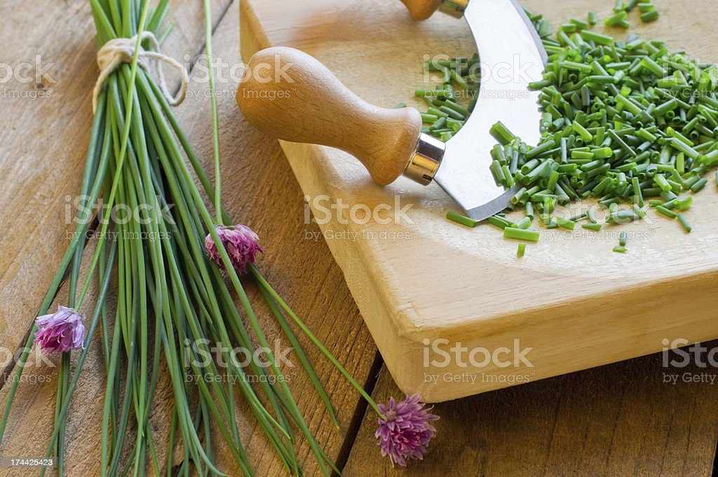Chopped Herbs - Chives royalty-free stock photo