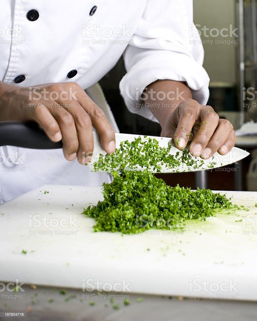 Chopped herbs stock photo