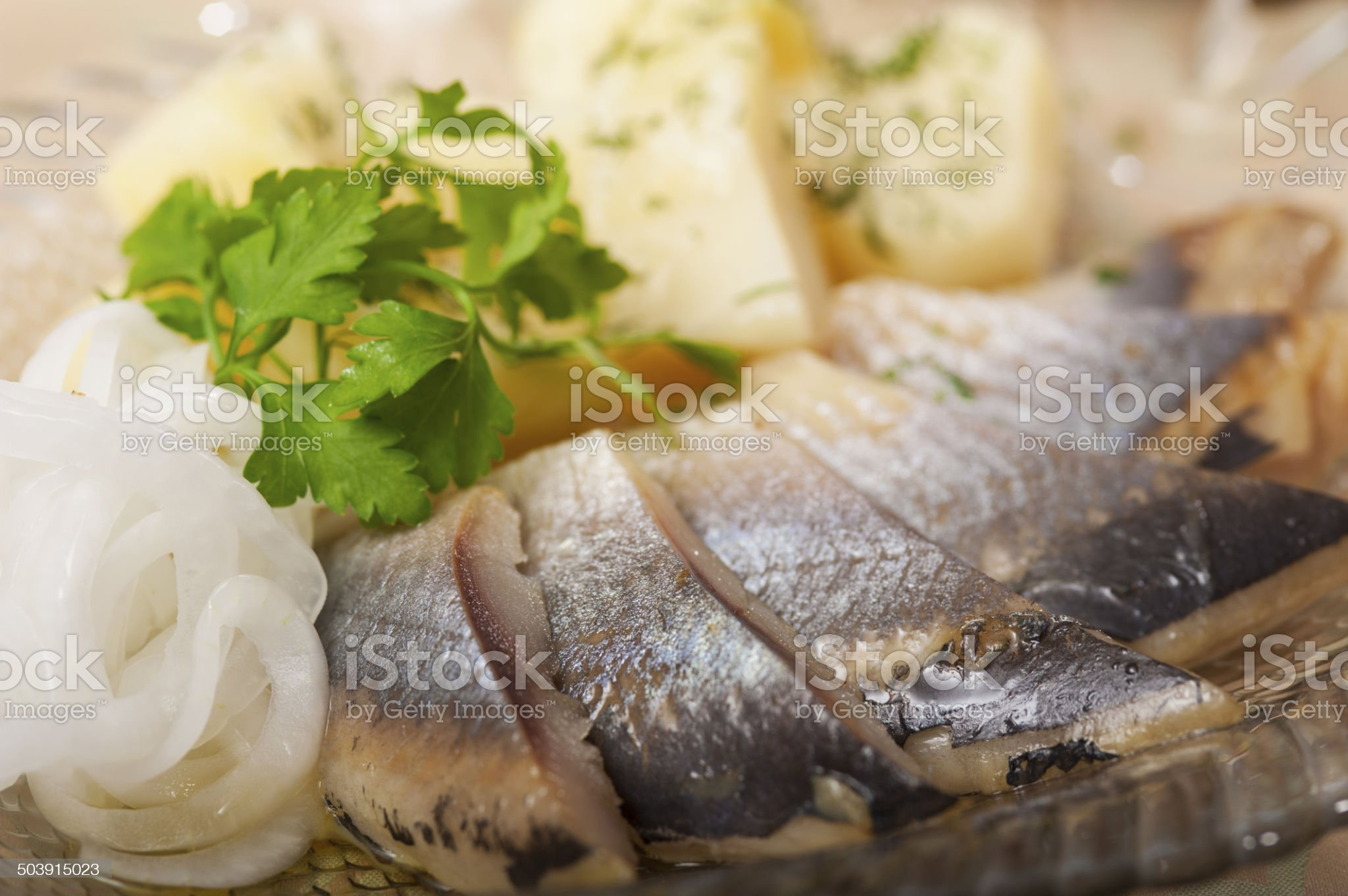 chopped herring on a plate royalty-free stock photo