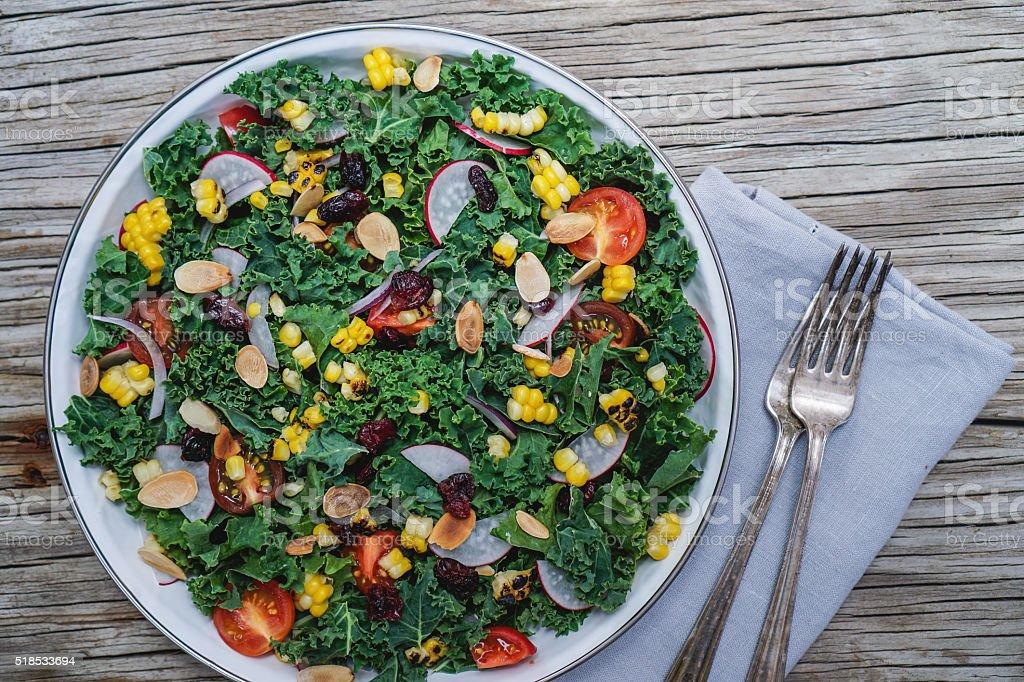 Chopped kale salad stock photo