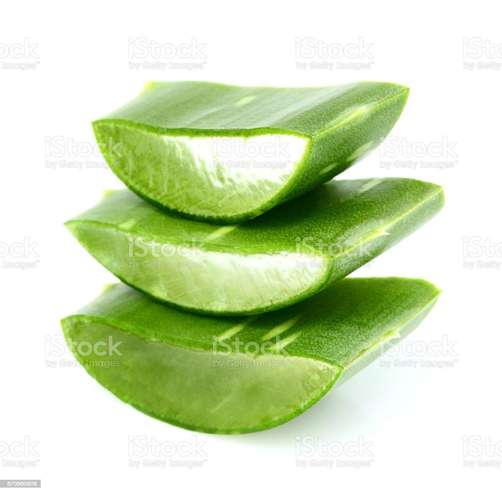 Chopped leaf aloe close-up. stock photo