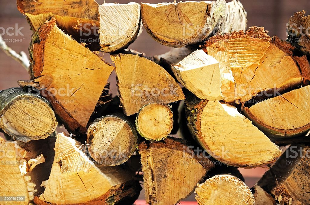 Chopped logs for firewood. stock photo