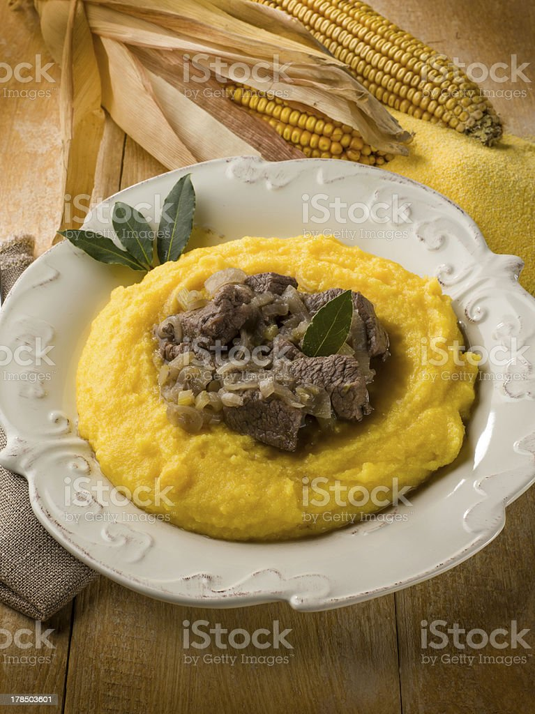 chopped meat with onions and porridge stock photo