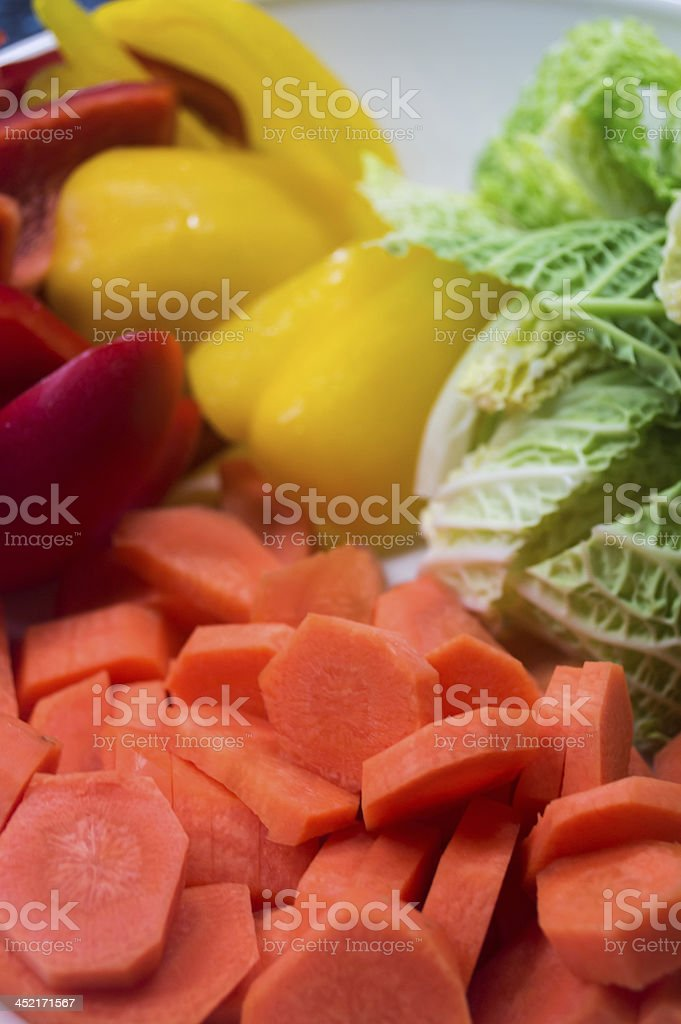 Chopped Mixed Vegetables Prepared for Cooking royalty-free stock photo