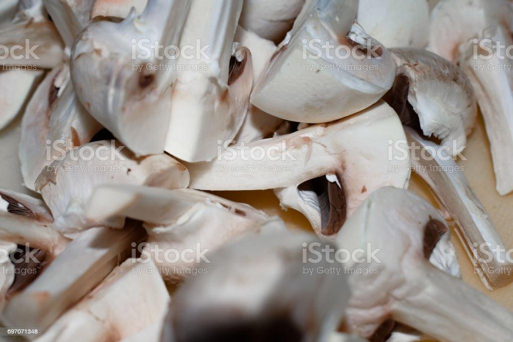 chopped mushrooms stock photo