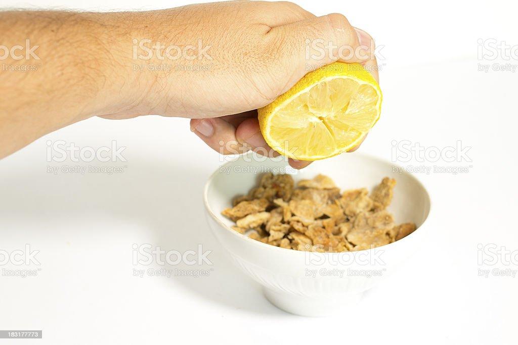 Chopped Pork Lard and lemon royalty-free stock photo