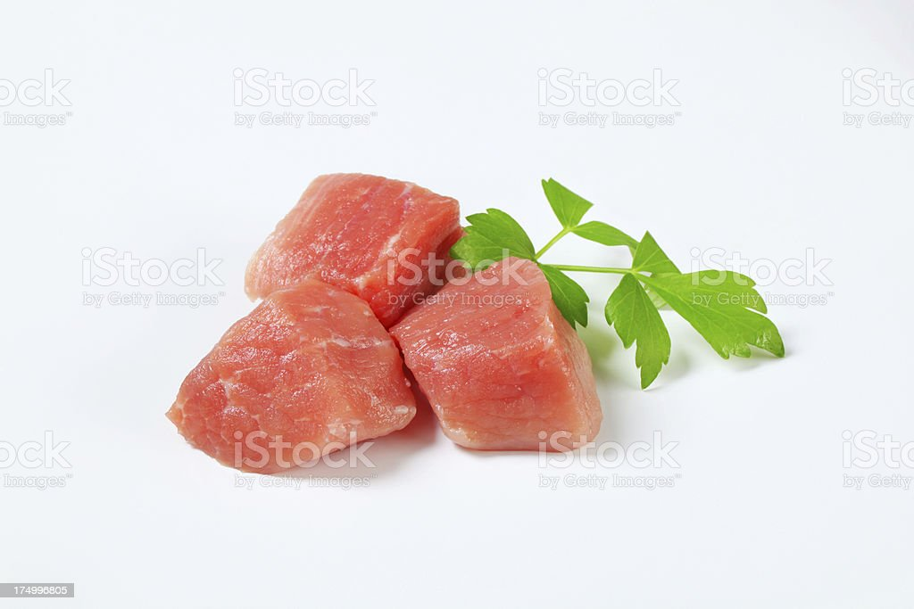 Chopped pork meat for goulash royalty-free stock photo