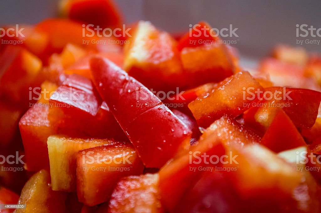 Chopped Red Bell Pepper with Water Droplets royalty-free stock photo