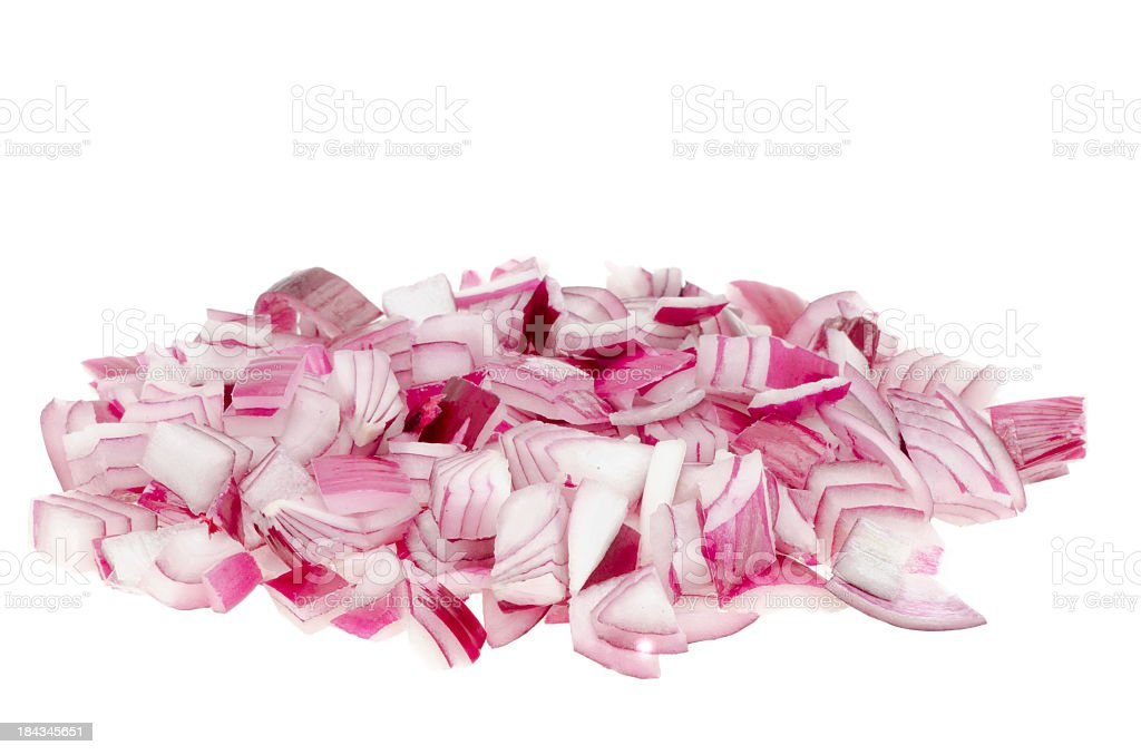 Chopped red onion over a white background stock photo