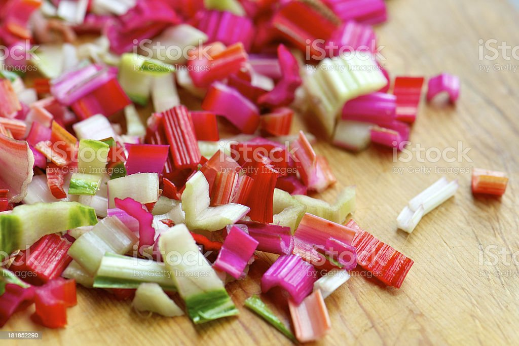 Chopped Stems of Colorful Swiss Chard stock photo
