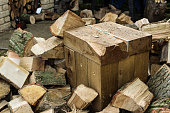 chopped up wood and chopping block