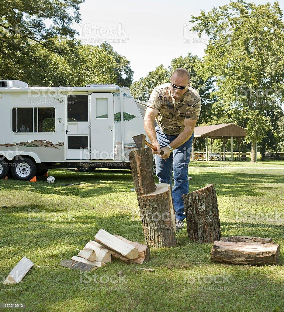 choppin campfire wood royalty-free stock photo