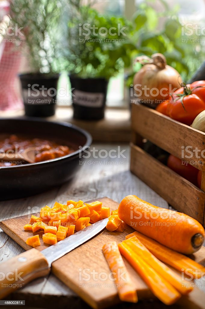 Chopping a vegetables stock photo
