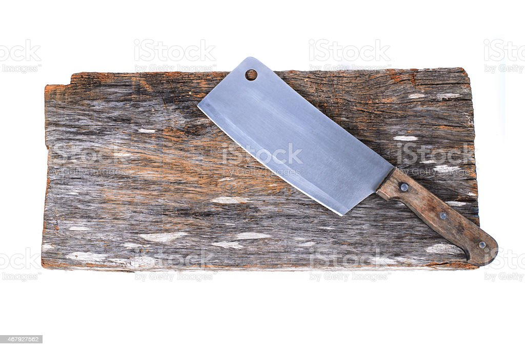 Chopping block and cleaver isolated on white background stock photo