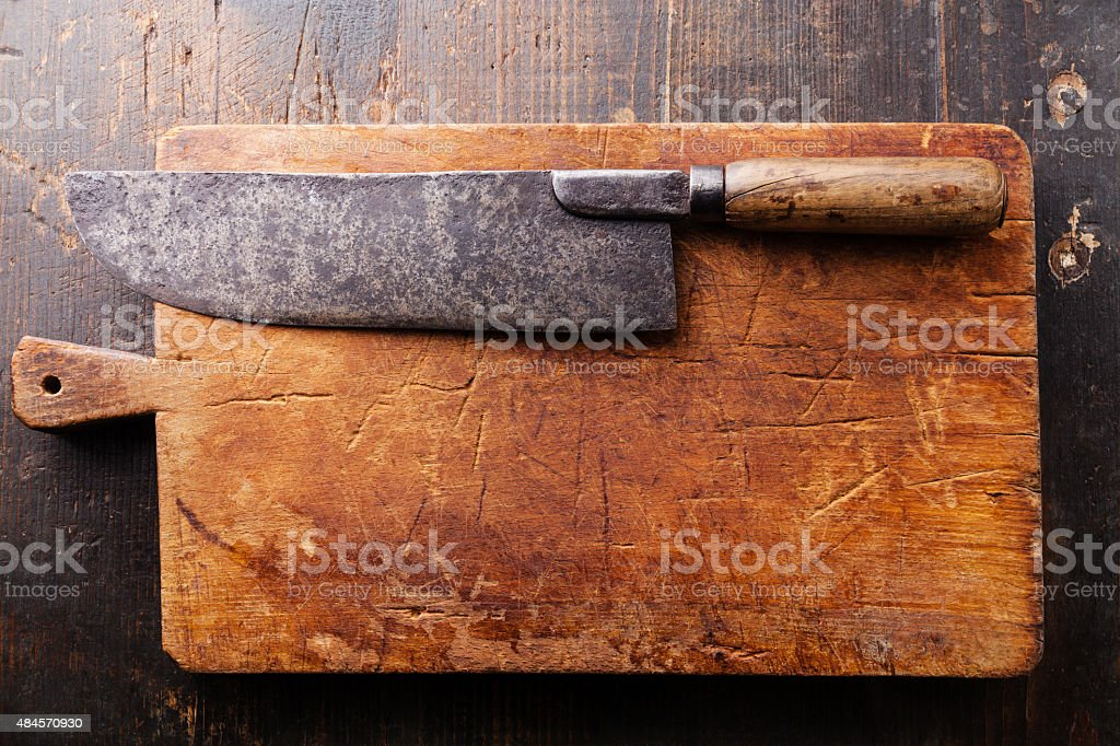 Chopping board and Meat cleaver stock photo