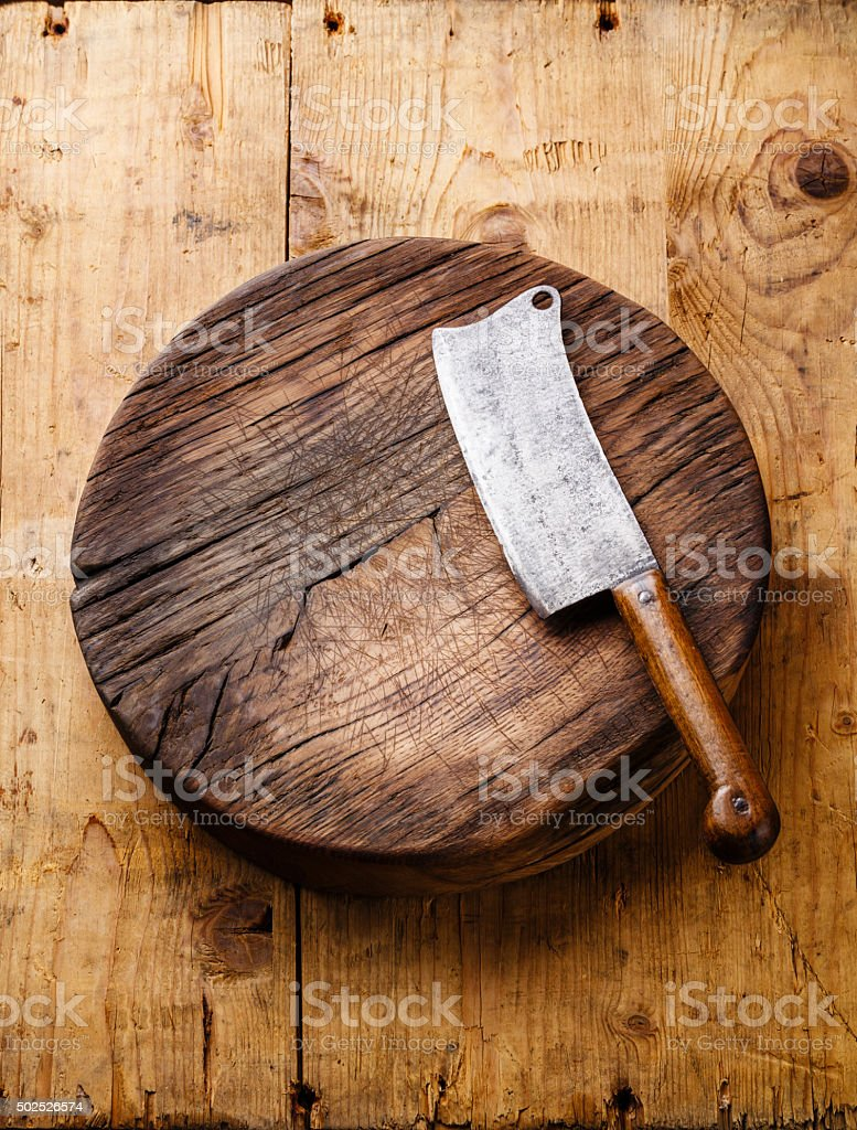 Chopping board block and Meat cleaver stock photo