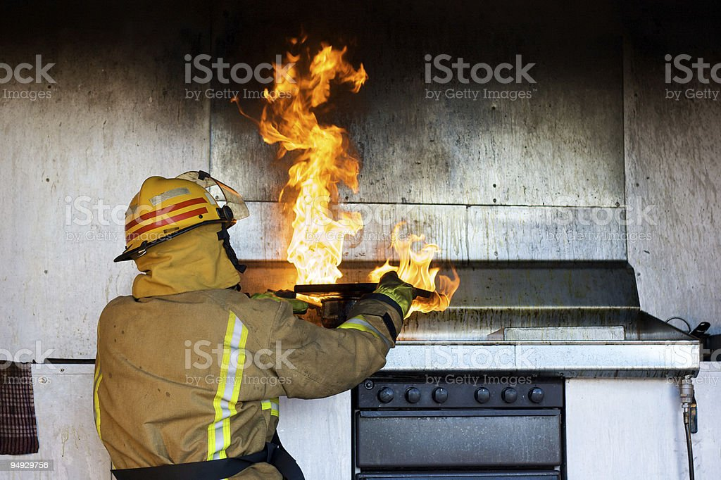 Chopping board vs fire royalty-free stock photo