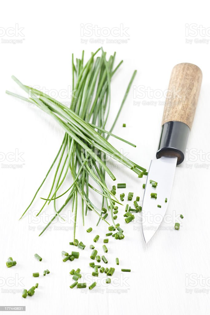 Chopping chives royalty-free stock photo