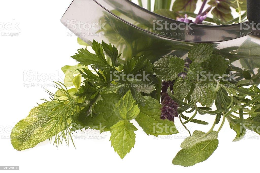 chopping fresh herbs. royalty-free stock photo