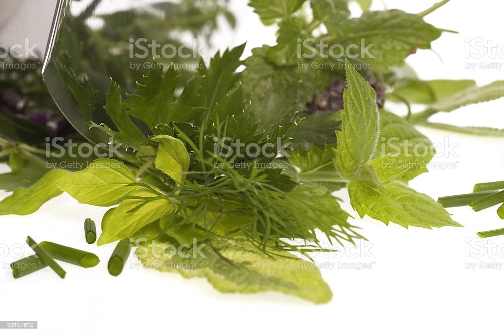 chopping fresh herbs. royalty-free stock photo