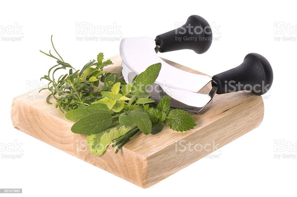 chopping fresh herbs royalty-free stock photo