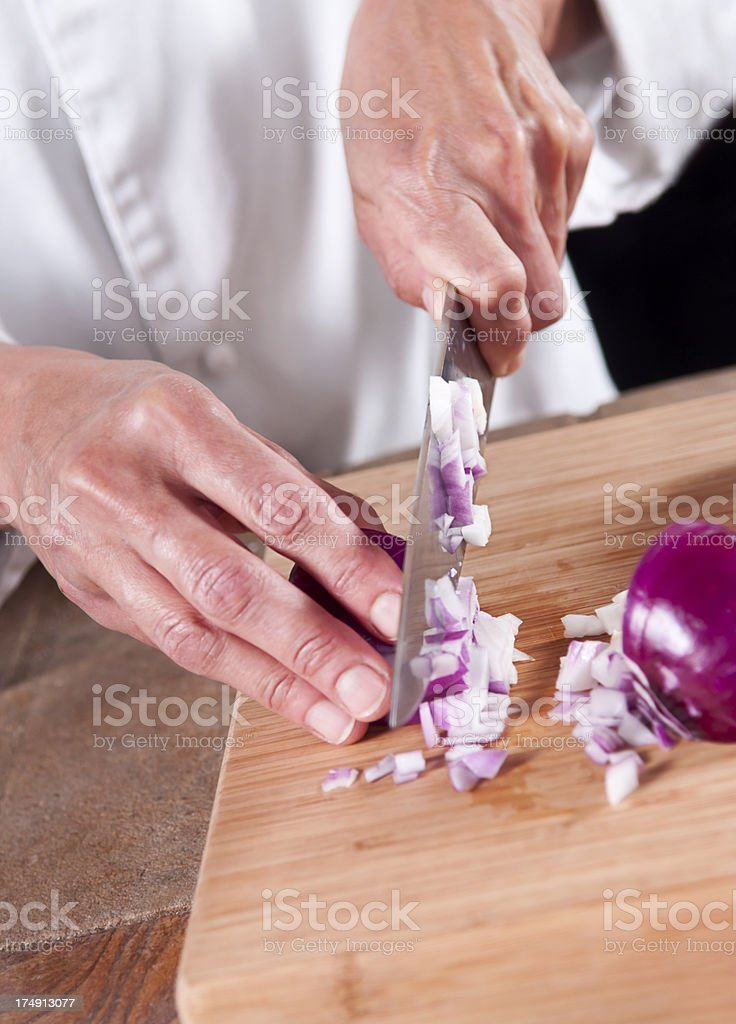 Chopping Onion royalty-free stock photo