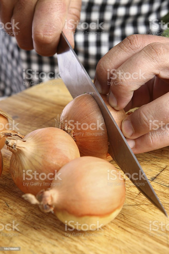 Chopping onions royalty-free stock photo