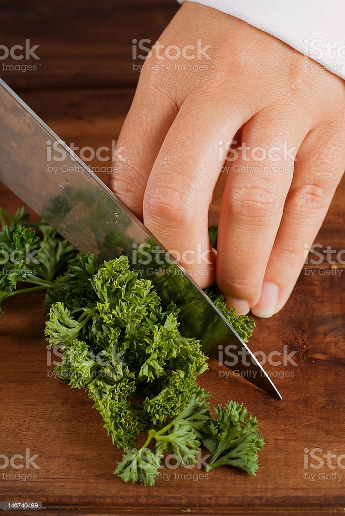 Chopping parsley royalty-free stock photo