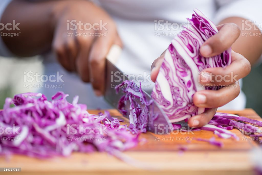 Chopping Purple Cabbage stock photo