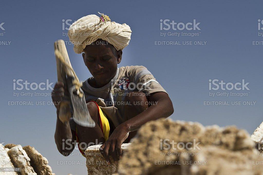 Chopping salt stock photo