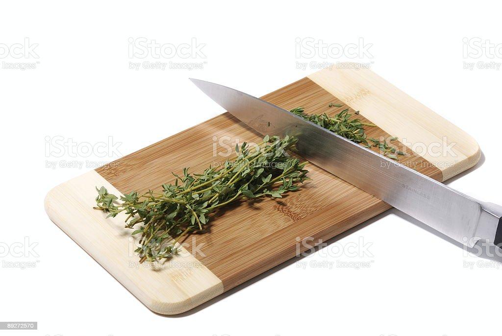 Chopping Thyme stock photo
