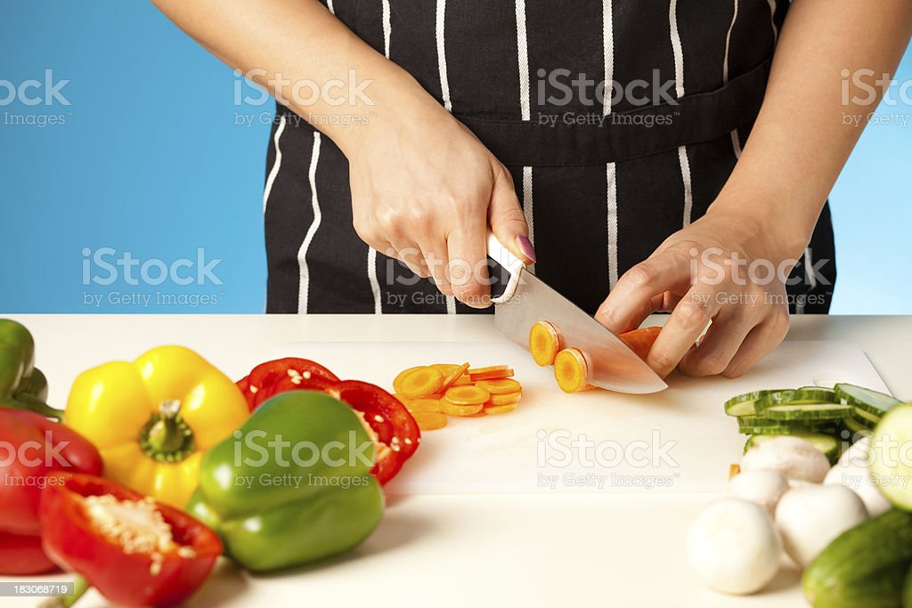 Chopping Vegetables royalty-free stock photo